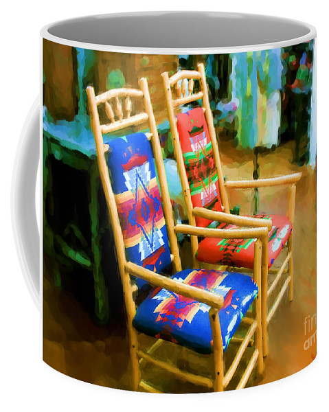 Pendleton Chairs Coffee Mug featuring the digital art Pendleton Chairs by Methune Hively