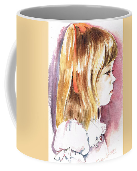 Girl Coffee Mug featuring the painting Penelope by Val Stokes