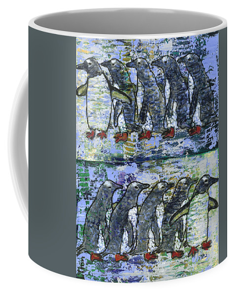 Penguins Coffee Mug featuring the painting Penguins On Parade by Richard W Dillon