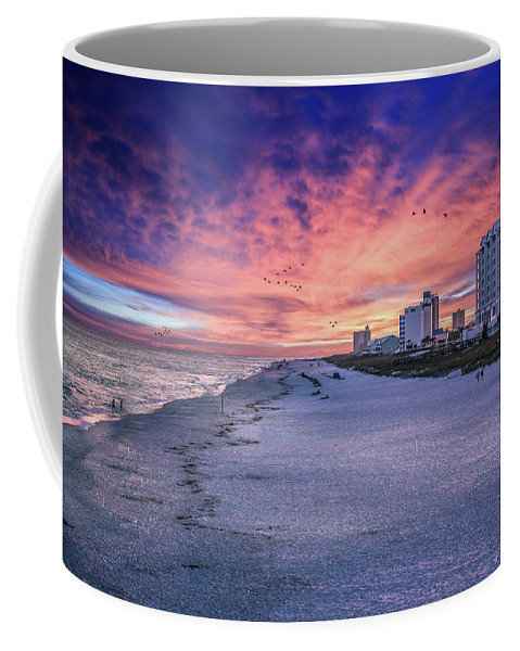 Brent Shavnore Pensacola Beach Sunset Emerald Coast Escambia County Coffee Mug featuring the digital art Pensacola Beach Vibrant Sunset by Brent Shavnore