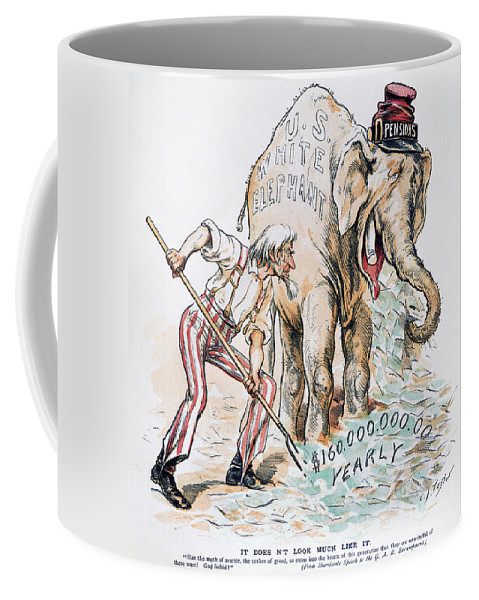 America Coffee Mug featuring the photograph Pension Cartoon, 1893 by Granger