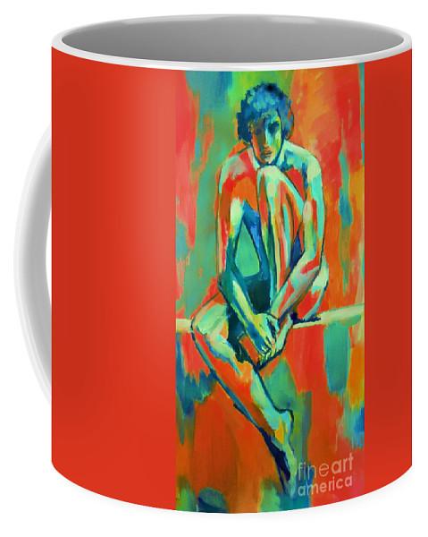 Nude Figures Coffee Mug featuring the painting Pensive Male Figure by Helena Wierzbicki