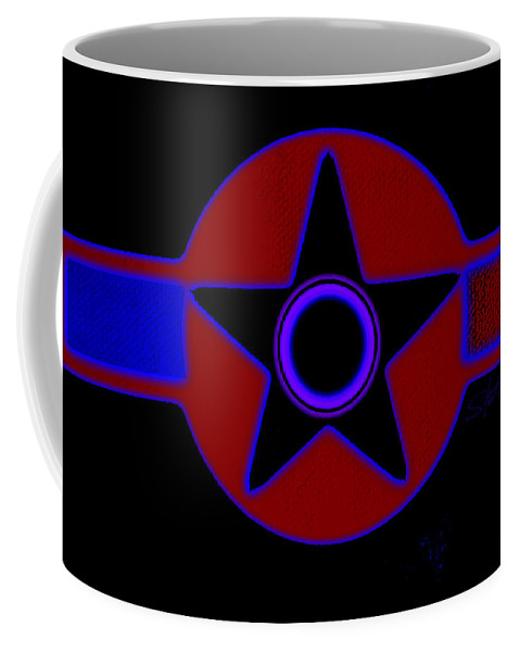 Usaaf Coffee Mug featuring the painting Pentagram In Red by Charles Stuart