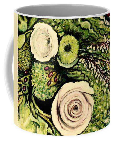 Oil Coffee Mug featuring the painting Peonies And Hypercom by Elizabeth Robinette Tyndall