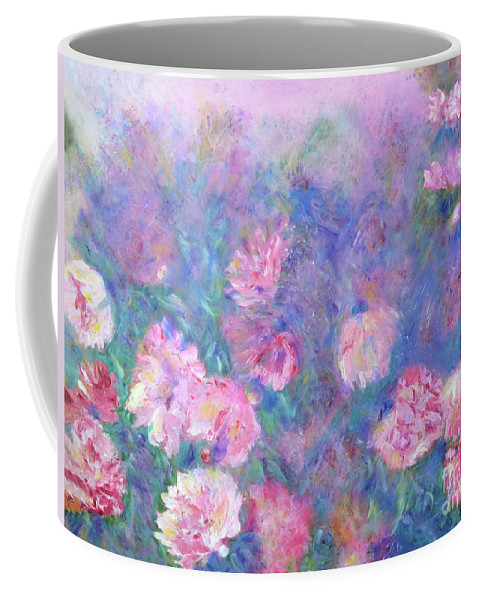 Peonies Coffee Mug featuring the painting Peonies by Claire Bull