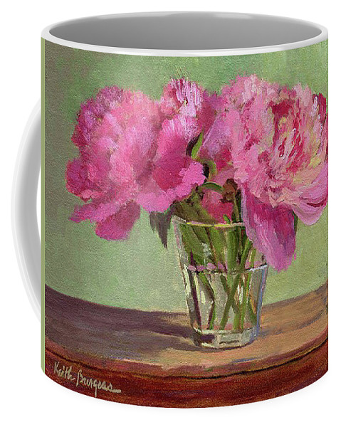 Still Coffee Mug featuring the painting Peonies In Tumbler by Keith Burgess