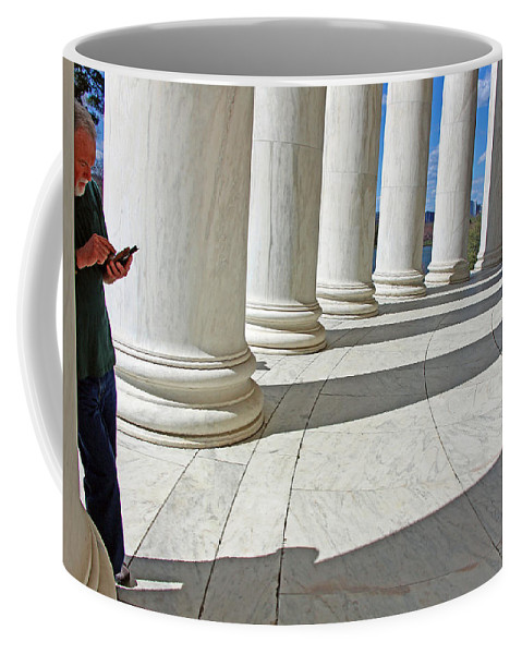 Jefferson Coffee Mug featuring the photograph A Man Leaning On A Column by Cora Wandel