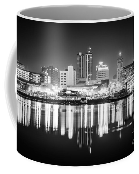 America Coffee Mug featuring the photograph Peoria Illinois At Night Black And White Photo by Paul Velgos
