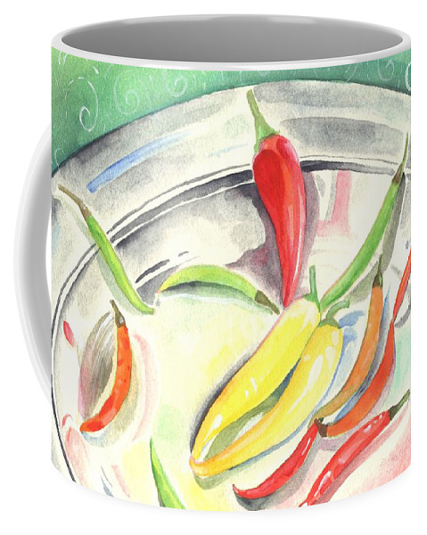 Hot Peppers Coffee Mug featuring the painting Pepper Play by Helena Tiainen
