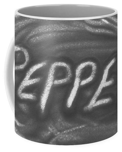 Black And White Coffee Mug featuring the photograph Pepper by Rob Hans