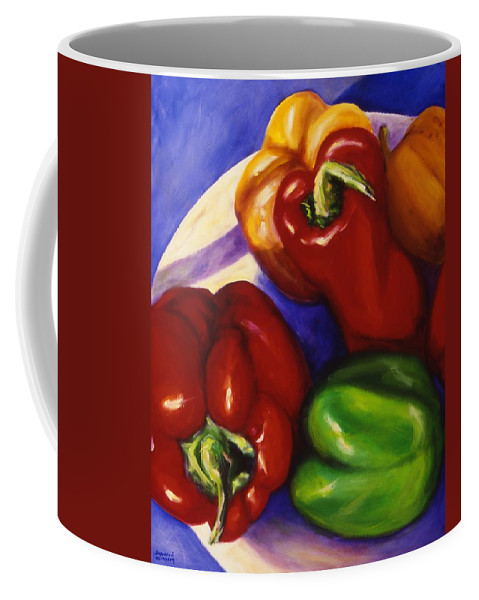 Still Life Peppers Coffee Mug featuring the painting Peppers In The Round by Shannon Grissom