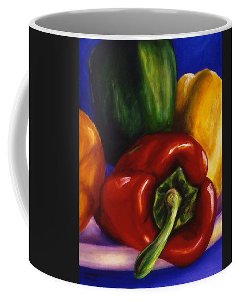Still Life Coffee Mug featuring the painting Peppers On Peppers by Shannon Grissom