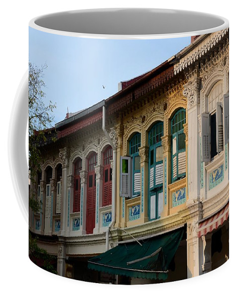 Art Coffee Mug featuring the photograph Peranakan Architecture Design Houses And Windows Joo Chiat Singapore by Imran Ahmed