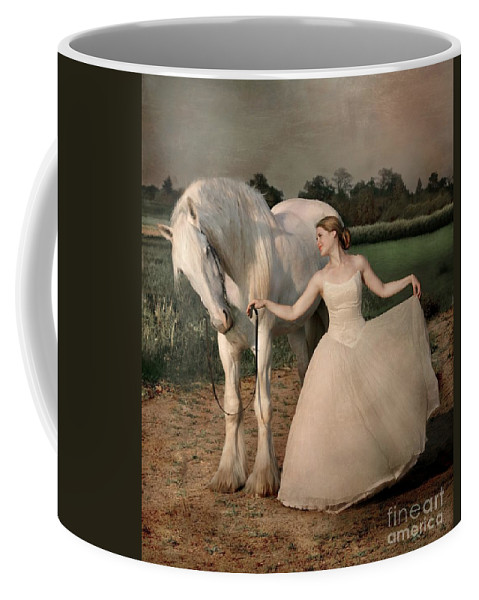 White Horse Coffee Mug featuring the photograph Perfect Dancers by Dorota Kudyba