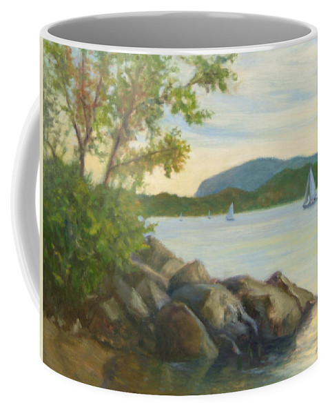 Landscape Painting Coffee Mug featuring the painting Perfect Day For A Sail by Phyllis Tarlow