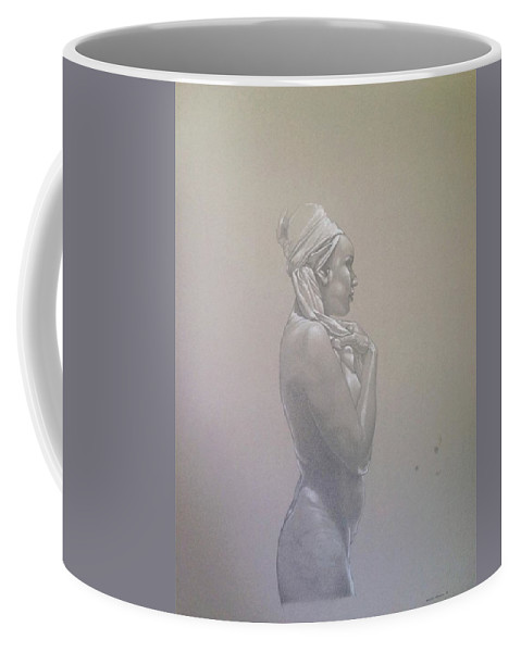 Desnudo Coffee Mug featuring the mixed media Perfil II by Hernan Miranda