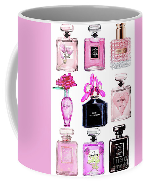 Chanel Coffee Mug featuring the painting Perfume Set Black And Pink by Del Art