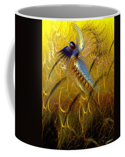 Abstract Coffee Mug featuring the digital art Perils Of Genetic Engineering by Casey Kotas