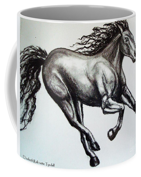 Horse Coffee Mug featuring the drawing Persistance by Elizabeth Robinette Tyndall