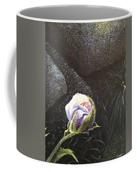 Poppy Coffee Mug featuring the painting Persistence by Hunter Jay