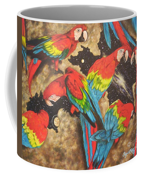 Six Macaws Coffee Mug featuring the painting Nope Its Not The My Pillow Guy  by Sigrid Tune
