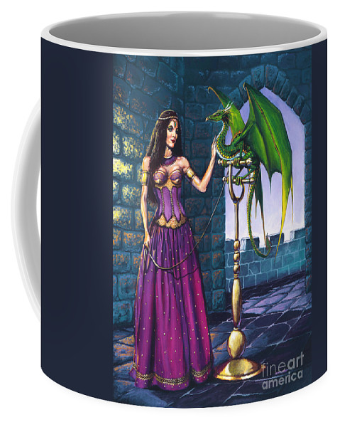 Dragon Coffee Mug featuring the painting Pet Dragon by Stanley Morrison