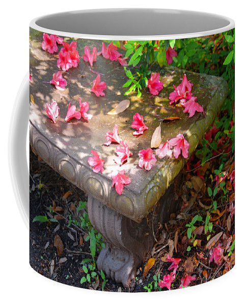 Photography Coffee Mug featuring the photograph Petals On A Bench by Susanne Van Hulst