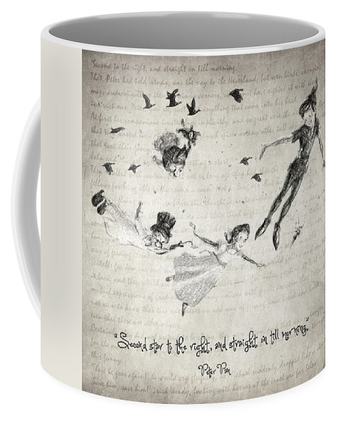 Peter Pan Coffee Mug featuring the drawing Peter Pan Quote by Zapista Zapista