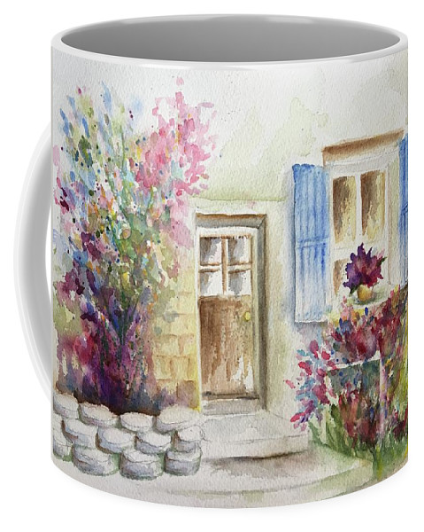 Watercolour Country House Rock Wall Garden Of Flowers Window Flowers Window Shutters Door Patio Porch Pinks Greens Blues Burgundies Steps French Cottage Coffee Mug featuring the painting Petite Maison A La Campagne by Belinda Balaski