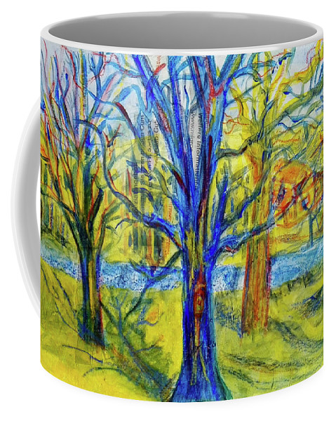 Riviere Coffee Mug featuring the mixed media Petite Riviere by Mimulux patricia No