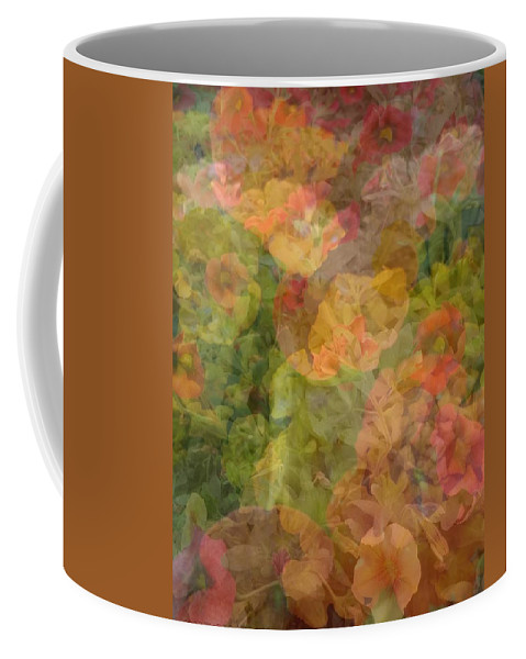 Flowers Coffee Mug featuring the photograph Petunias And Lantana Collage by Kathy Barney