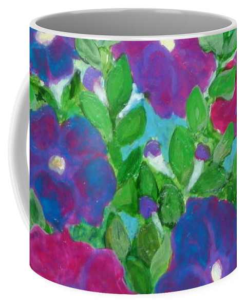Folkartanna Coffee Mug featuring the painting Petunias by Anna Folkartanna Maciejewska-Dyba