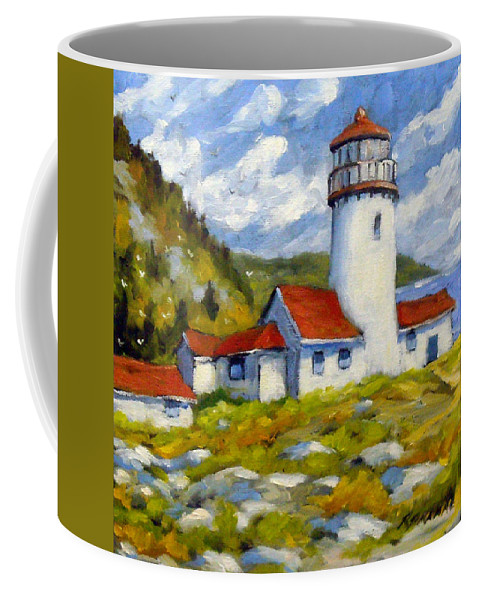 Fishing Boats Coffee Mug featuring the painting Phare 004 by Richard T Pranke