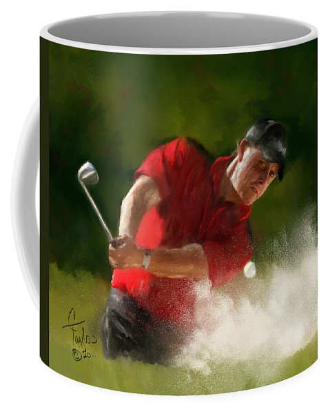 Golf Coffee Mug featuring the painting Phil Mickelson - Lefty In Action by Colleen Taylor