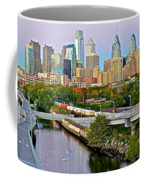 Philadelphia Coffee Mug featuring the photograph Philadelphia At Dusk by Frozen in Time Fine Art Photography