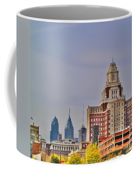 Philadelphia Coffee Mug featuring the photograph Philadelphia Skyline From Camden Waterfront by Bill Cannon