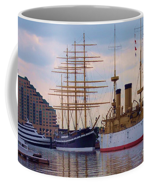Philadelphia Coffee Mug featuring the photograph Philadelphia Waterfront Olympia by Debbi Granruth