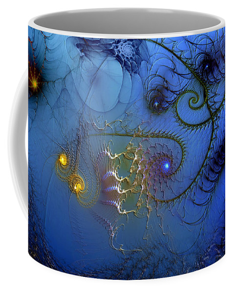 Abstract Coffee Mug featuring the digital art Philosophical Ventriloquism by Casey Kotas