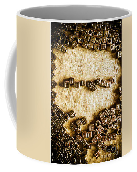 Philosophy Coffee Mug featuring the photograph Philosophy In Metal Cubes by Jorgo Photography - Wall Art Gallery