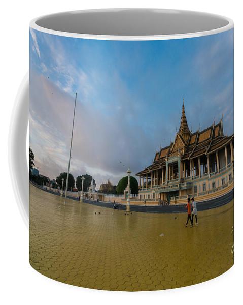 Phnom Penh Coffee Mug featuring the photograph Phnom Penh Royal Palace Plaza by Mike Reid