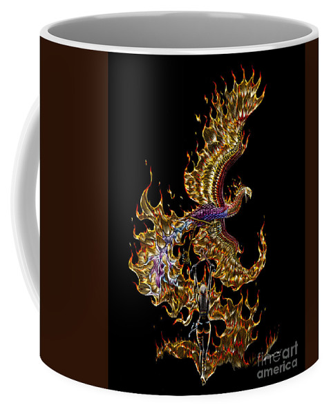 Phoenix Coffee Mug featuring the drawing Phoenix by Stanley Morrison