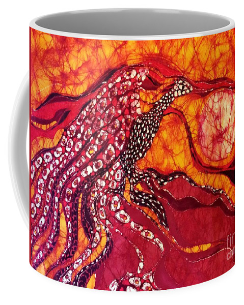 Phoenix Coffee Mug featuring the tapestry - textile Phoenix Sweeps The Earth by Carol Law Conklin