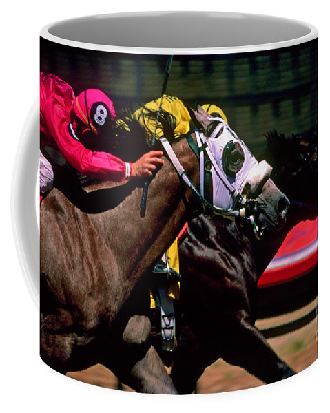 Horse Coffee Mug featuring the photograph Photo Finish by Kathy McClure
