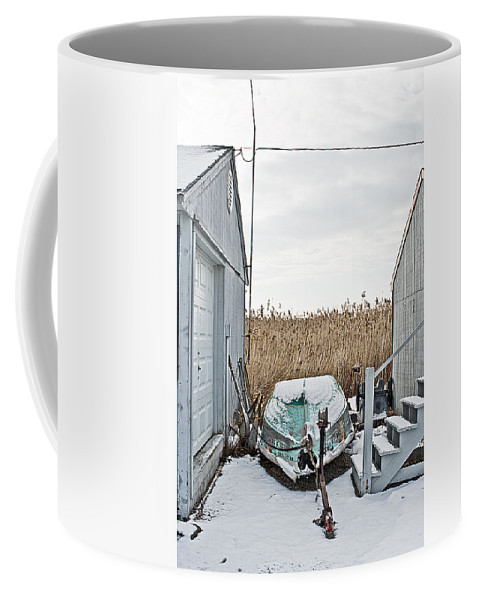 Boat Coffee Mug featuring the digital art Photogrphic Illustration Of A Small Boat In New England by David Thompson