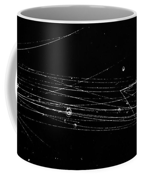 Science Coffee Mug featuring the photograph Pi-mesons, Bubble Chamber Event by Science Source