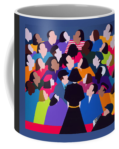 France Coffee Mug featuring the painting Piaf Aka A Tribute To Edith Piaf by Synthia SAINT JAMES