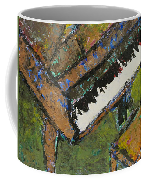 Piano Coffee Mug featuring the painting Piano Close Up 1 by Anita Burgermeister