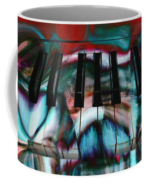 Abstract Art Coffee Mug featuring the digital art Piano Colors by Linda Sannuti