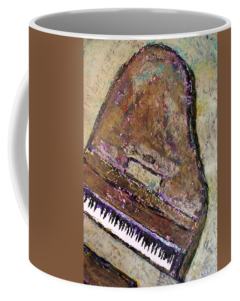 Piano Coffee Mug featuring the painting Piano In Bronze by Anita Burgermeister