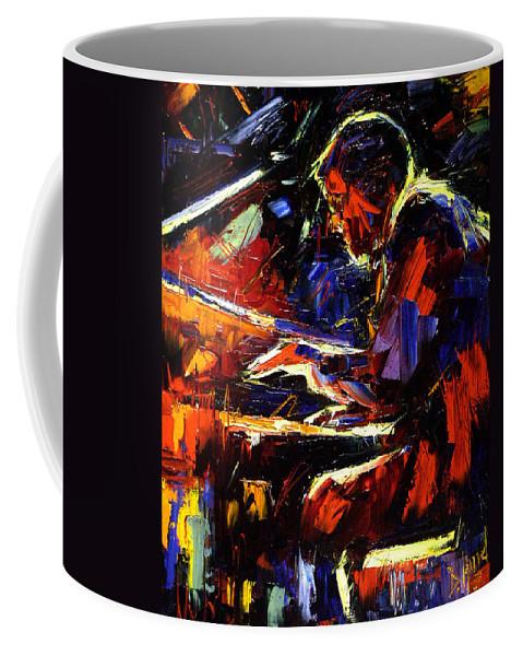 Jazz Coffee Mug featuring the painting Piano Man by Debra Hurd